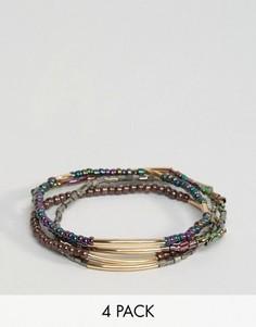 Набор из 4 радужных браслетов-фенечек с бусинами ASOS - Мульти