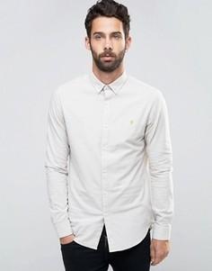 Бежевая оксфордская рубашка слим на пуговицах Farah - Бежевый