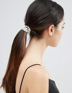 Резинка для волос с искусственным жемчугом ASOS - Кремовый