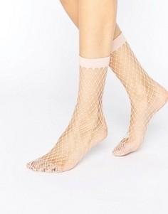 Розовые носки в крупную сетку ASOS - Розовый
