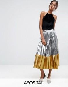 Плиссированная юбка миди цвета металлик с контрастным краем ASOS TALL - Серебряный