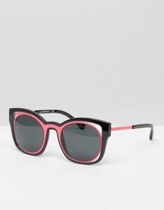 Контрастные солнцезащитные очки кошачий глаз Emporio Armani - Черный