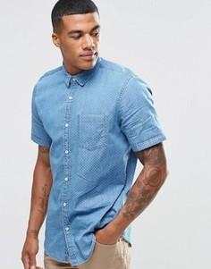 Джинсовая рубашка классического кроя с мелким принтом New Look - Синий