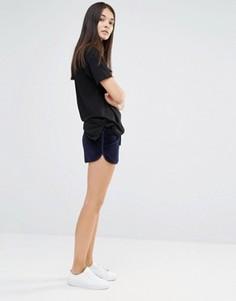 Бархатные университетские шорты New Look - Черный