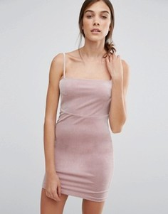 Бархатное платье мини в стиле 90-х New Look - Бежевый