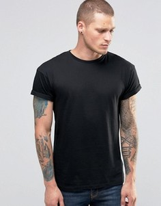 Черная футболка с отворотами на рукавах New Look - Черный