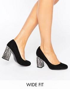 Туфли-лодочки для широкой стопы на блочном каблуке New Look - Черный