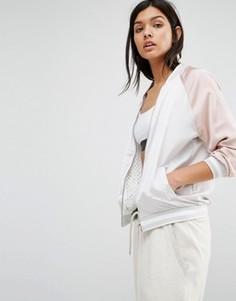 Двусторонняя куртка‑пилот из сеточки и атласа New Look - Розовый