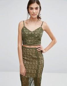 Кружевной топ New Look Premium - Зеленый