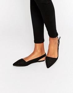 Туфли с острым носом и вышивкой New Look - Черный
