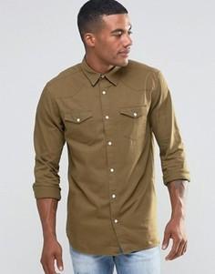 Рубашка классического кроя цвета хаки в стиле вестерн New Look - Зеленый