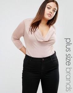 Боди с глубоким вырезом New Look Plus - Розовый