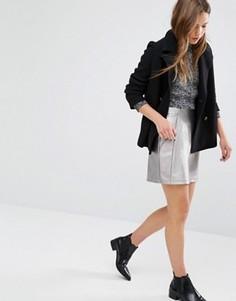 Трапециевидная мини-юбка New Look - Серебряный