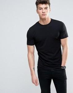 Черная футболка кроя слим New Look - Черный