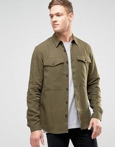 Рубашка навыпуск классического кроя цвета хаки New Look - Зеленый