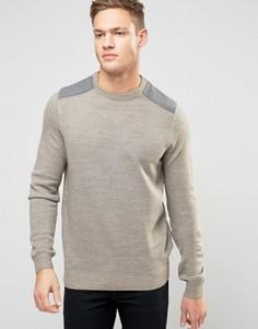 Песочный джемпер с серыми нашивками на плечах New Look - Stone