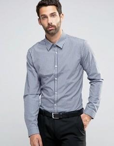 Темно-синяя строгая рубашка классического кроя в клеточку New Look - Темно-синий