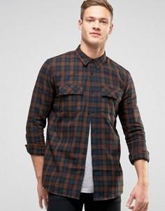 Рубашка классического кроя в клетку с двумя карманами New Look - Серый