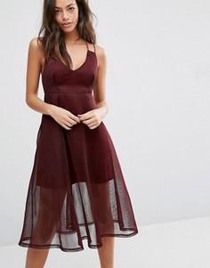 Фактурное платье миди с сеткой New Look - Красный