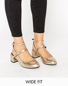 Туфли для широкой стопы на блочном каблуке с ремешком через пятку New Look - Золотой