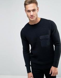 Черный джемпер с карманом в стиле милитари New Look - Черный