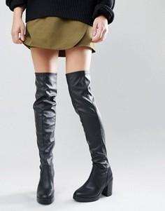 Сапоги-ботфорты на блочном каблуке из искусственной кожи New Look - Черный