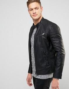 Черная байкерская куртка из исскуственной кожи New Look - Черный
