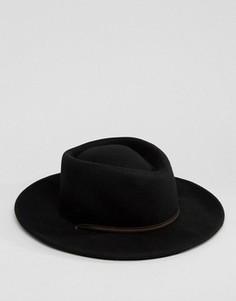 Черная шляпа с широкими полями и ленточкой ASOS - Серый