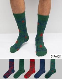 5 пар толстых носков с оленями и узором Фэйр-Айл ASOS Christmas - Темно-синий