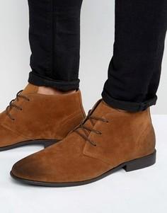 Светло-коричневые ботинки чукка из искусственной замши ASOS - Рыжий