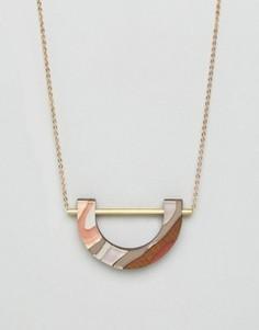 Ожерелье с мраморной U-образной подвеской Wolf & Moon - Мульти