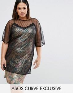 Платье-премиум в стиле 90-х с отделкой ASOS CURVE - Мульти
