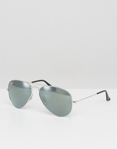 Солнцезащитные очки-авиаторы с зеркальными стеклами Ray-Ban 0RB3025 - Серебряный