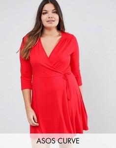Короткое приталенное платье с запахом и рукавами 3/4 ASOS CURVE - Коричневый