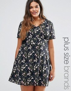 Чайное платье с кружевной вставкой Yumi Plus - Черный