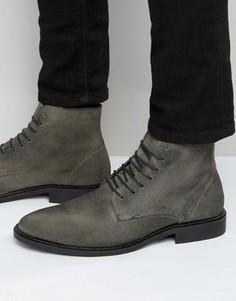 Серые ботинки из вощеной замши New Look - Серый