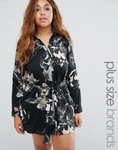 Платье-рубашка с цветочным принтом AX Paris Plus - Черный