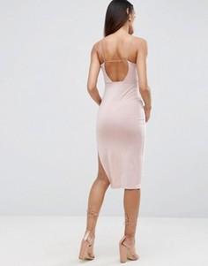Платье миди с завязками сзади ASOS - Золотой