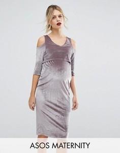 Бархатное платье для беременных с вырезами на плечах ASOS Maternity - Бежевый