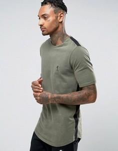 Удлиненная футболка с отделкой тканой лентой Religion - Зеленый
