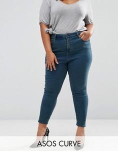 Зауженные выбеленные джинсы с завышенной талией ASOS CURVE Ridley - Синий