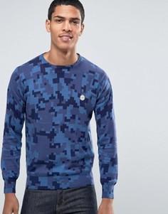 Вязаный камуфляжный джемпер с круглым вырезом Le Breve - Синий