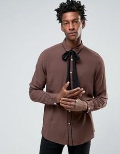 Коричневая рубашка из вискозы со съемным шарфом и окантовкой ASOS - Коричневый
