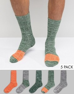5 пар теплых носков в стиле колор блок ASOS - Мульти