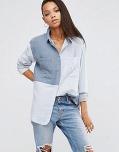 Саржевая oversize‑рубашка в стиле колор блок ASOS - Синий