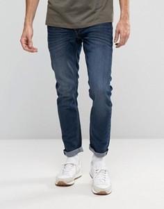 Темно-синие выбеленные узкие джинсы стретч Solid - Синий