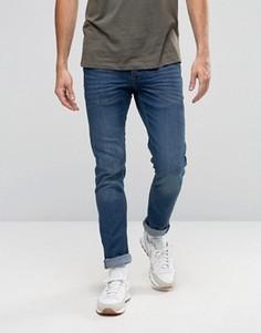 Синие стретчевые джинсы слим с выбеленным эффектом Solid - Синий