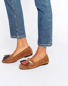 Замшевые туфли на плоской подошве с кисточками ASOS MYLA - Рыжий