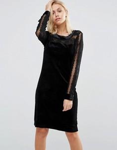 Бархатное платье с кружевными рукавами и кокеткой b.Young - Черный