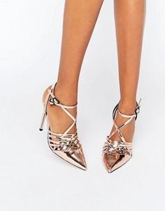 Туфли на каблуке с решетчатым дизайном и острым носком ASOS PEPPIN - Бежевый